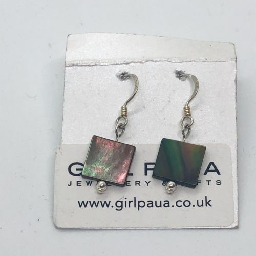 Earrings - Black Mother of Pearl Squares & Silver Beads - WERE £14 ME02-Q